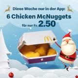 Diese Woche 6 Chicken McNuggets für CHF 2.50 bei McDonalds (via App)
