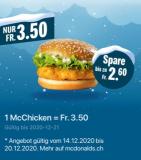 Diese Woche 1 McChicken für CHF 3.50 bei McDonalds (via App)