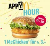 McChicken bei McDonald's heute von 21 bis 23 Uhr für CHF 3.-