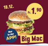 BigMac bei McDonald's heute für CHF 1.90