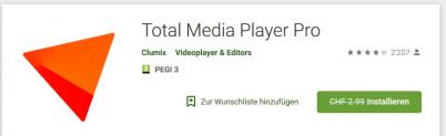 Total Media Player Pro kostenlos statt 2.99 CHF
