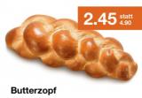 Heute Sonntag (24.3.2019) Butterzopf (500g) mit 50% Rabatt bei migrolino