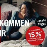 15% auf Sofas, Sessel, Teppiche und mehr bei Möbel Pfister