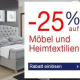 Nur heute: 25% auf Möbel und Heimtextilien bei Quelle, z.B. Boxspringbett Rubona für CHF 1199.25 statt CHF 1599.-