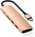Satechi USB-C Slim Aluminium V2 Multiport-Adapter in Gold und Grau bei melectronics