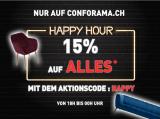 Confo Happy Hour : -15% auf alles (ausser High-Tech Haushalstgeräte) ab 18 Uhr bis Mitternacht