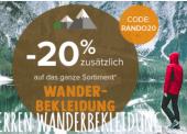 20 % Rabatt auf Wanderbekleidung und Equipment bei Snowleader