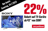 Nur heute 22% Rabatt auf Sony TV ab 43″ bei Interdiscount