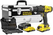 Schlagbohrschrauber Stanley Fatmax 18 Li-2 inkl. 2 Akkus, Werkzeugkoffer, Bohrer- und Schrauberbit-Set