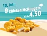 McDonalds Sommerhits: Heute 9x Chicken McNuggets für 4.50 CHF
