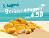 Zum letzten Mal McDonalds Sommerhits: Heute 9x Chicken McNuggets für 4.50 CHF