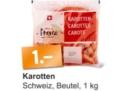 Ab Dienstag: 1kg Rüebli, 1kg Bananen oder 1 Bund Bundzwiebeln für 1.- bei der Migros