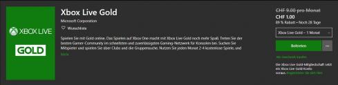 1 Monat Xbox Live Gold (Neukunden & ehemalige Kunden) für CHF 1.-
